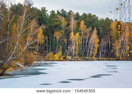 Winter landscape. Separate a small river which flows into the river Ob. Novosibirsk oblast Siberia Russia