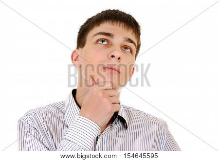 Pensive Young Man is Thinking Isolated on the White Background