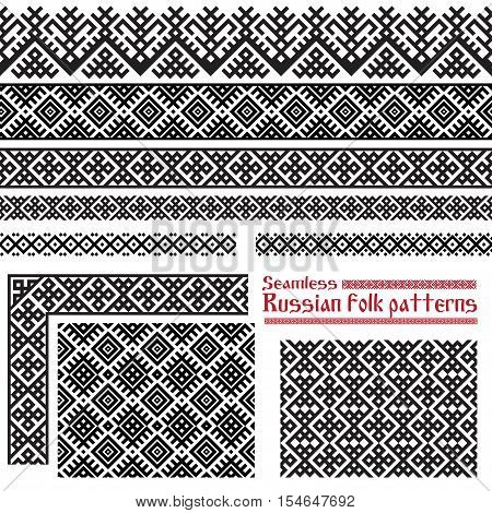Seamless Russian folk patterns: borders, corner, fills. Patterns consist of ancient Slavic amulets. Pattern brushes and swatches are included in vector file.