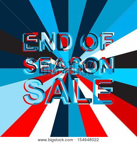 Big sale poster with END OF SEASON SALE text. Advertising blue and red  banner template