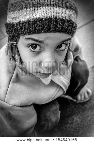 Homeless Lonely Little Girl In The Street