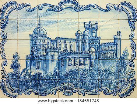 Pena National Palace in Sintra (Palacio Nacional da Pena), Portugal. Ceramic tile
