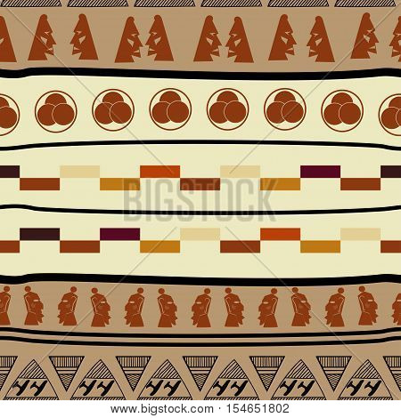Seamless pattern with african elements ethno tribal style