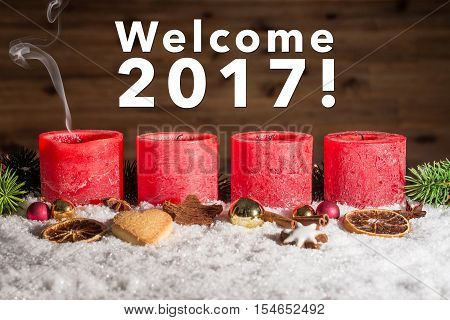 Four Blown Out Advent Candles With Welcome 2017