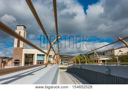 Editorial of cloudy sky over Cal Lutheran University pedestrian bridge on November 1, 2016. Thousand Oaks, California.
