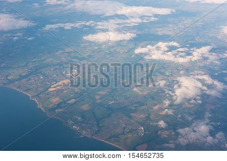 Land And Sea Seen From Airplane