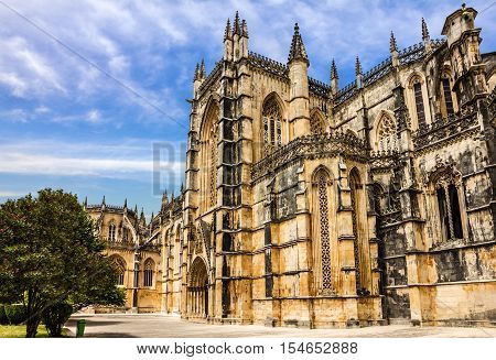 Batalha Dominican medieval monastery, Portugal. Great masterpieces of Gothic art. UNESCO World Heritage