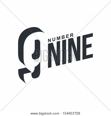 Black and white number nine diagonal logo template, vector illustrations isolated on white background. Graphic logo with diagonal logo with three dimensional number nine
