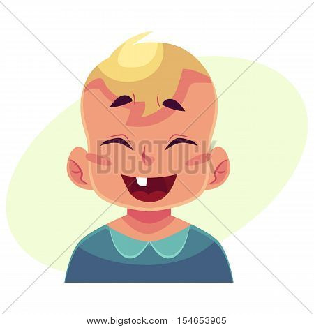 Little boy face, laughing facial expression, cartoon vector illustrations isolated on yellow background. Blond male kid emoji face laughing out load, closed eyes and open mouth. Laughing expression