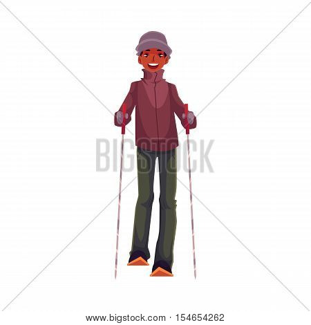 Teen-aged black boy with ski and poles, cartoon vector illustration isolated on white background. Full height portrait of African Amercian teenage skier, fun winter activity, outdoor leisure time