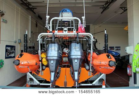 Littlehampton, Uk - October 25 2016: Rear Of An Rnli (royal National Lifeboat Institution) Lifeboat