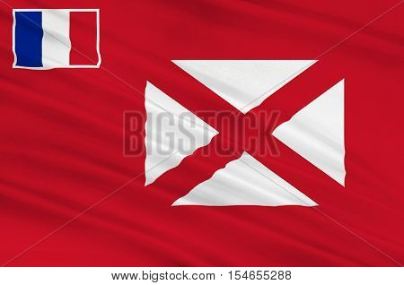 Flag of Wallis and Futuna (France) Mata-Utu - Polynesia. 3d illustration