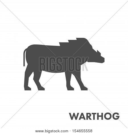 Black vector figure of warthog. Vector african animal for web and design.