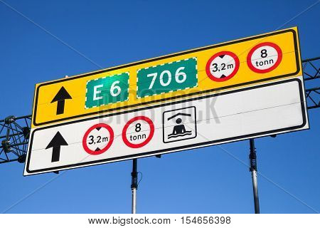 Colorful Road Signs With Route Numbers