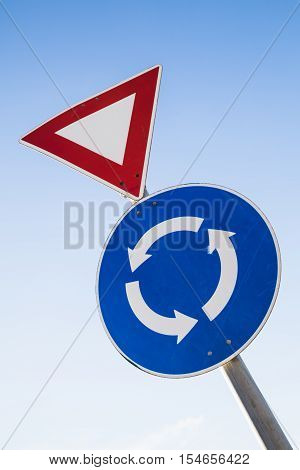 Give Way And Traffic Roundabout Signs