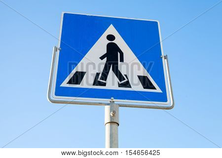 Pedestrian Crossing. Square Road Sign