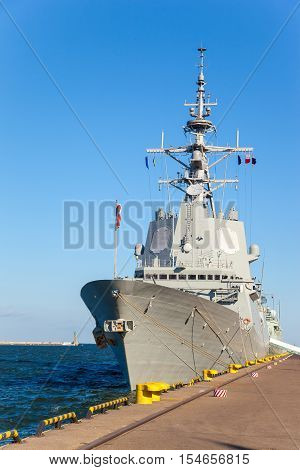 Warship in a sunny day in port of Gdynia Poland.