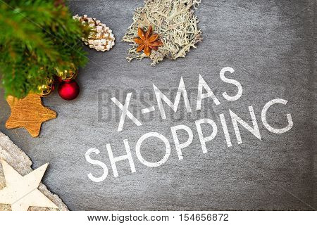 Christmas Decoration On Shale With Christmas Shopping