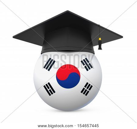 Graduation Cap with South Korea Flag isolated on white background. 3D render