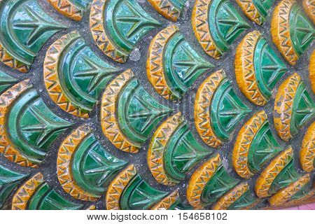 close up of scaly serpent background, the art of Thai temple.