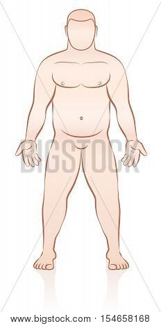 Overweight naked anonymous man - outline vector illustration.