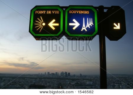 Signpost On Eiffel Tower