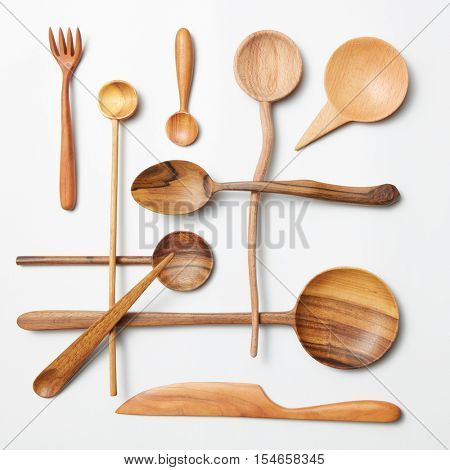 Wooden spoon and knife