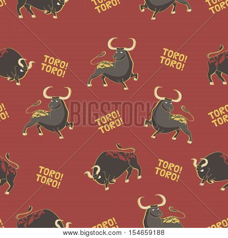 Seamless vector pattern with bulls. Corrida background.