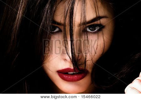beautiful brunette woman portrait, closeup
