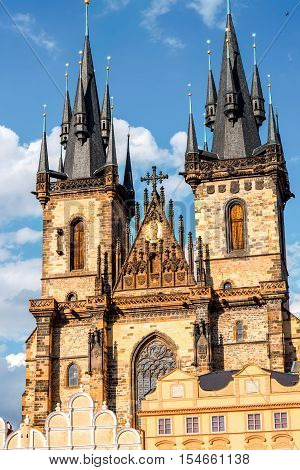 View on famous Tyn cathedral in the old town of Prague