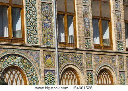 TEHRAN IRAN - OCTOBER 05 2016: Exteriors of Golestan palace and old mosaic paintings in Teheran Iran.