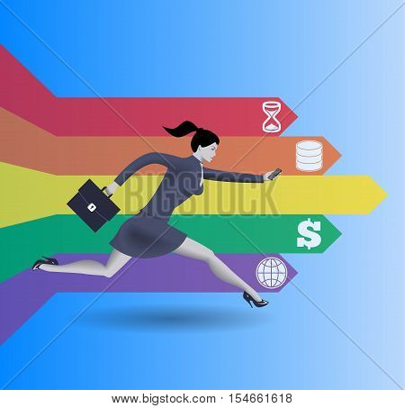Digital market race business concept. Confident business woman in business suit with case in one hand and smart phone in other runs fast along arrows on blue background.