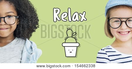 Kids Smiling Friendship Relax Concept