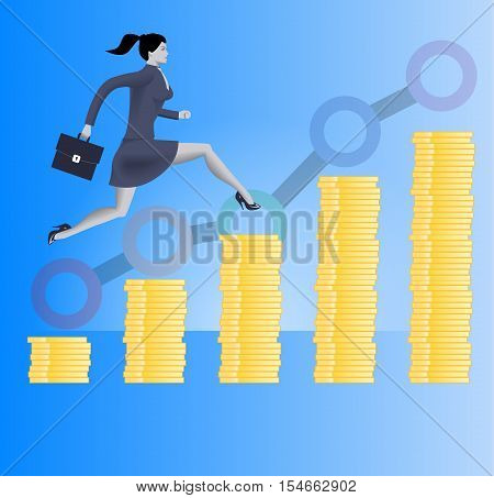 On the way to success business concept. Confident business woman in business suit with case in her hand runs up the stacks of gold coins. Concept of success investment profitable business.