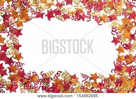 Foiled gold ribbons and stars. Frame with ribbons. Scattered stars border. Natural foiled texture. Yellow and red sparkling decor