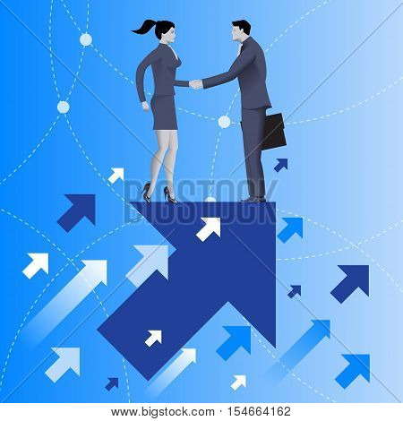 Mutual benefit business concept. Businessman and business woman shaking each other hands standing on top of arrow flying up. Concept of deal benefit common ground contract agreement.