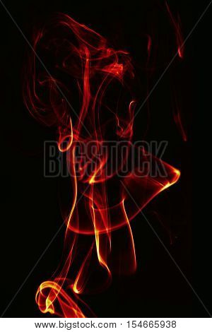 Abstract Single Fire Flame On Black Background