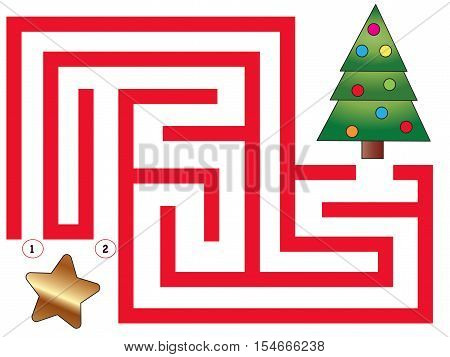 easy maze for children with tree christmas