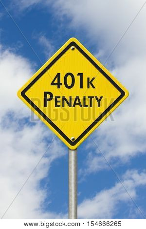 401k penalty warning Yellow and black warning road sign with text 401k penalty with sky background 3D Illustration