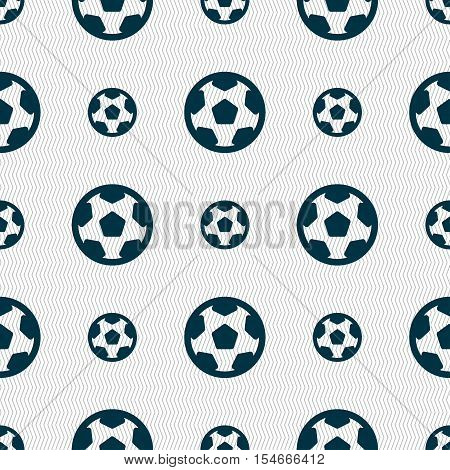 Football, Soccerball Icon Sign. Seamless Pattern With Geometric Texture. Vector