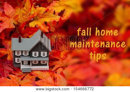 Home maintenance tips for the fall season Some fall leaves and gray house with text fall home maintenance tips