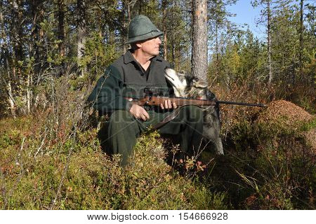 Moose hunter sitting on a stump holding his rifle and his dog sitting close looking up to him picture from the North of Sweden.