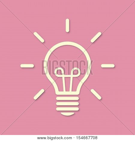 Vector illustration. Line silhouette of light bulb isolated on pink background. Material design. Design element for your stickers, card, posters, emblems, web design, icons. Template or pattern of light bulb