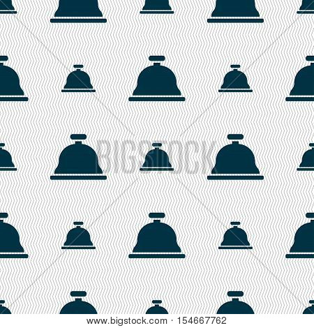 Dish With Lid Icon Sign. Seamless Pattern With Geometric Texture. Vector
