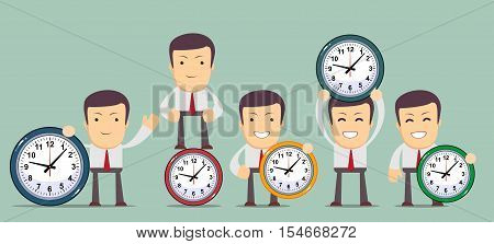 Man with clocks symbolizing time management, productivity, planning and scheduling. Stock Vector illustration Eps10 file.