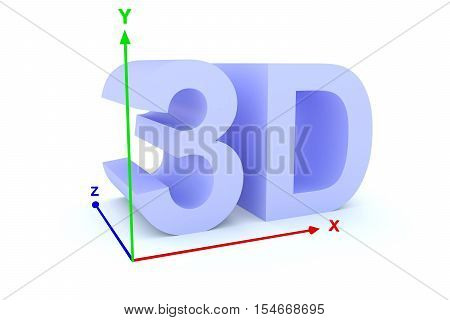 3d/the text coordinate system shows a three-dimensional image 3d illustration