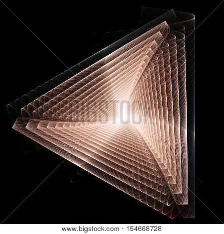 Endless pink colored triangle. 3D surreal illustration. Sacred geometry. Mysterious psychedelic relaxation pattern. Fractal abstract texture. Digital artwork graphic astrology magic