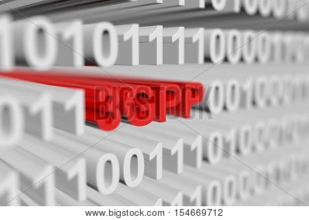 3GPP in the form of a binary code with blurred background 3D illustration