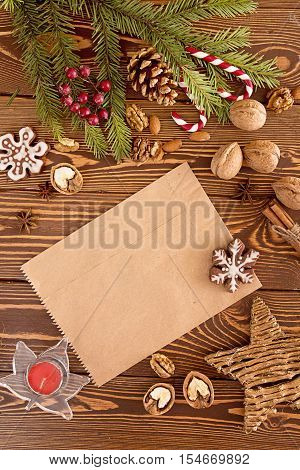 Christmas Decorations. Set For Greeting Card  With Copy Space