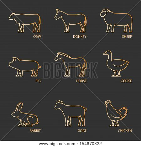 Vector collection outlines farm animals: cow donkey sheep pig. Line vector icon set farm animals. Farm animals: horse goose rabbit and chicken. Linear farm animals.